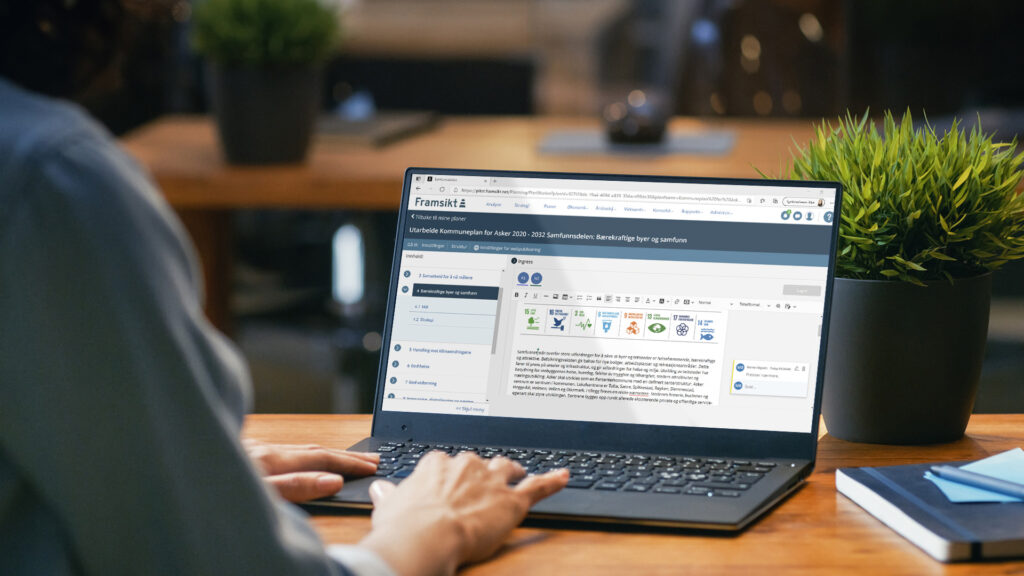 Pc skjerm som viser Framsikts Planmodul på skjerm
