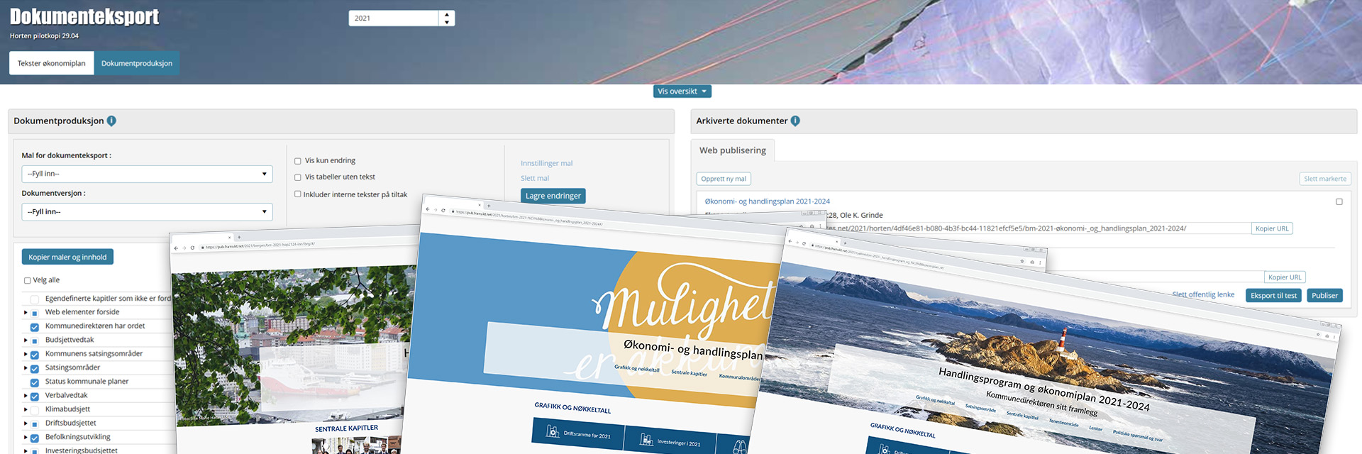 Skjermbildet viser dokumenteksportsiden med mulighet for eksport av dokument, samt digital publisering som nettside. Nederst i bildet vises tre utklipp av digitale øk.planer produsert i Framsikt.